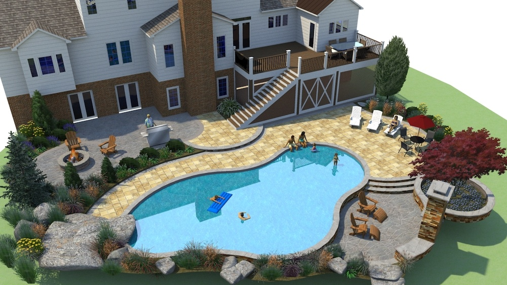 Custom pool design and landscape Leesburg, VA