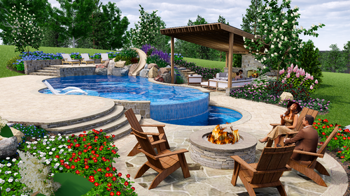 3d design of pool on sloped yard