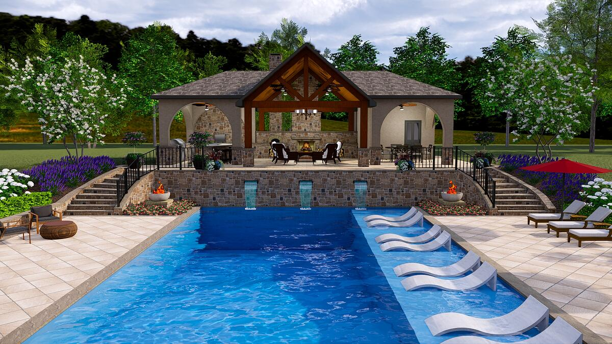 3D pool design with tanning ledge