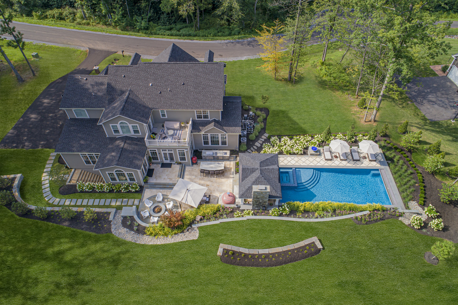 Aerial view of large patio layout