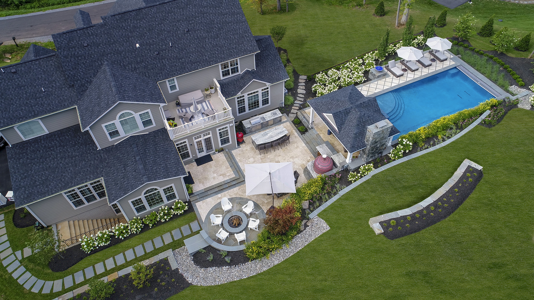 Aerial view of a complete landscape installation