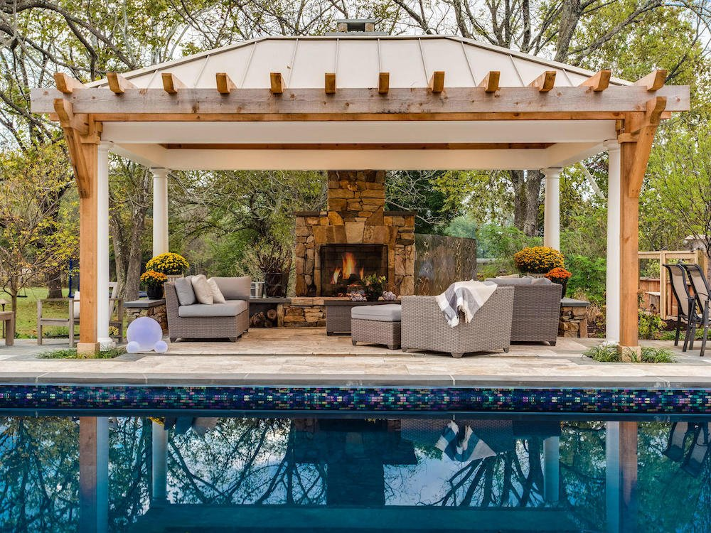 Pavilion seating with outdoor fireplace