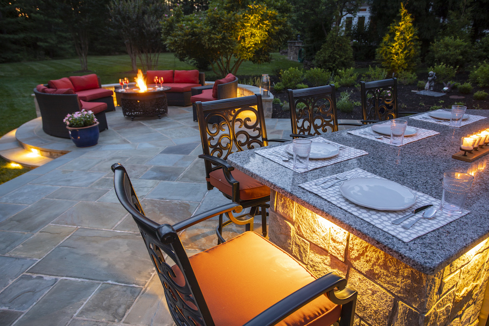 outdoor kitchen build and patio with fire pit