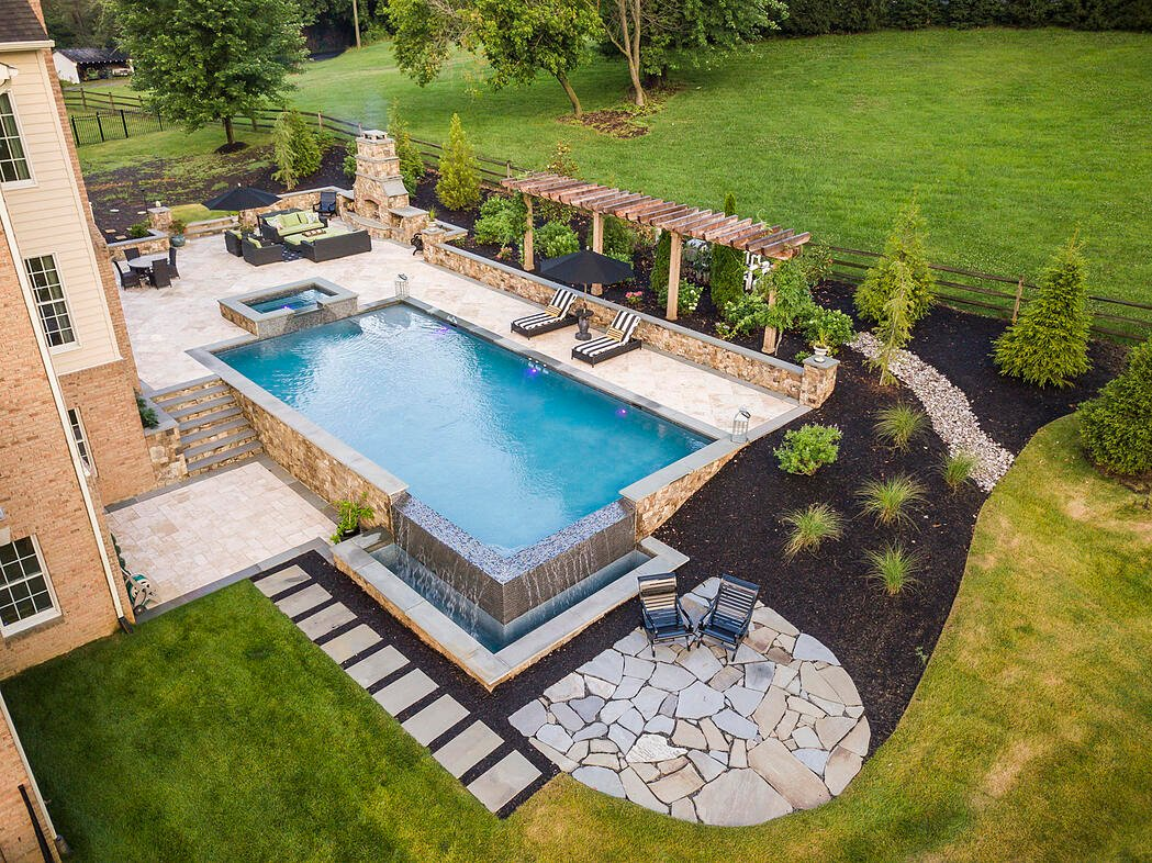 Pool design with landscape extras