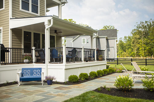 Deck and patio designed by Rock Water Farm in Virginia