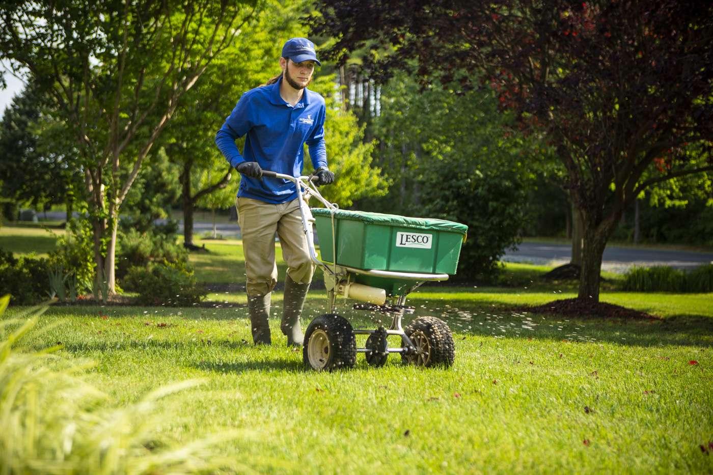 lawn care technician fertilizing lawn