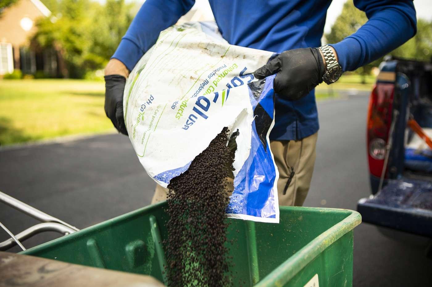 bag of professional lawn fertilizer