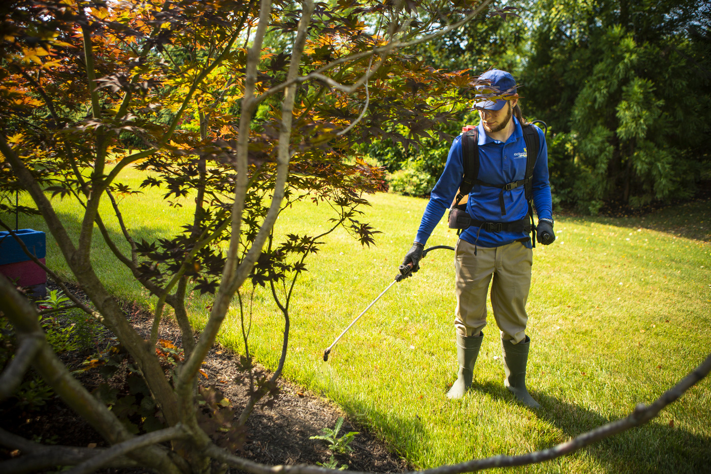 landscape technician applying weed control