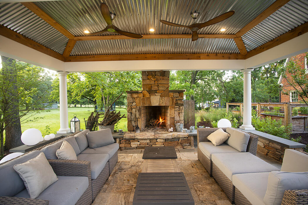pool pergola with fireplace