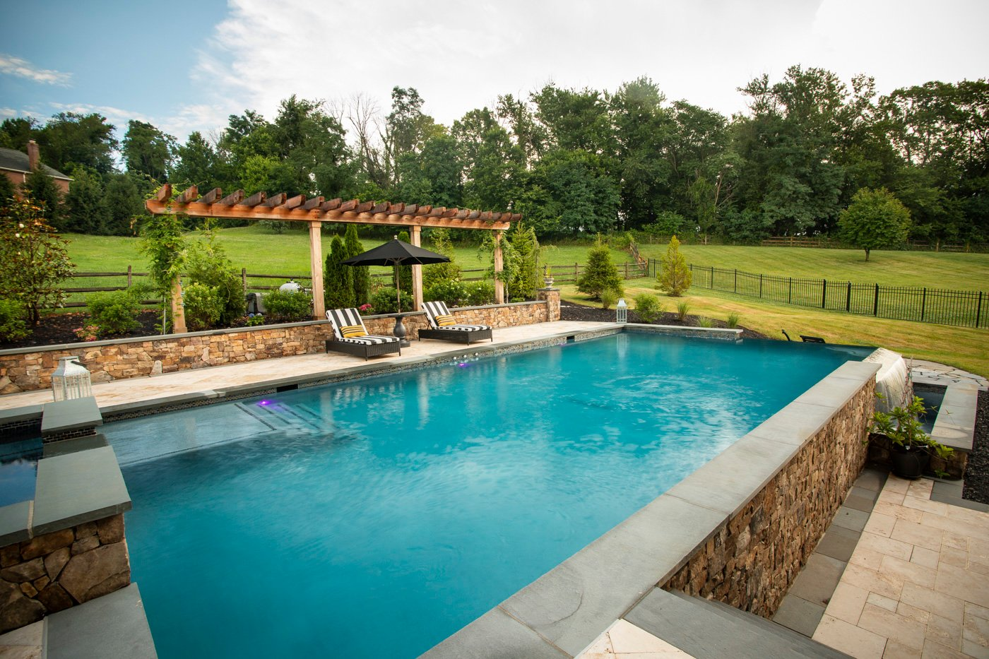 infinity edge pool, patio, and landscape