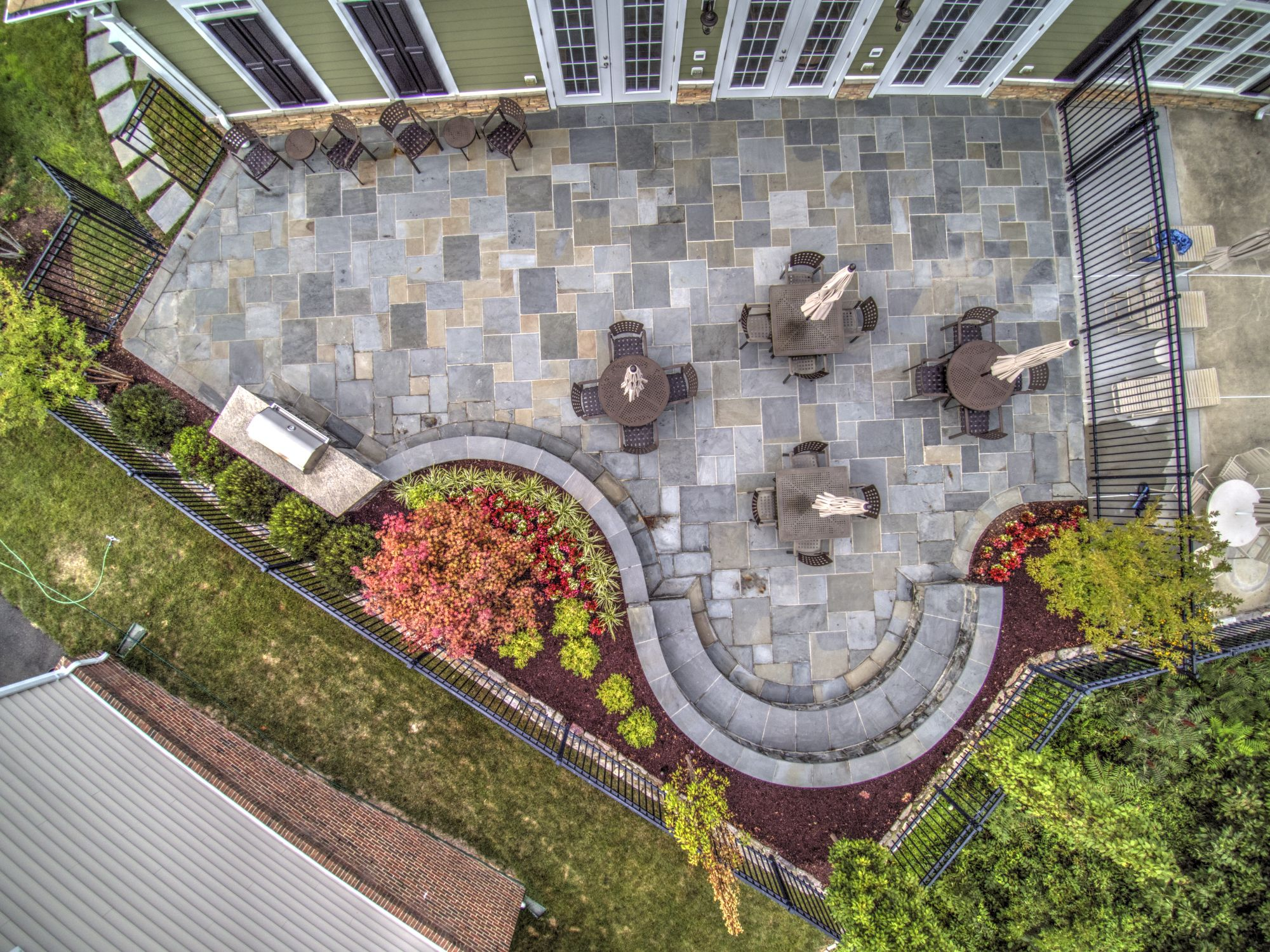 aerial view of flagstone patio