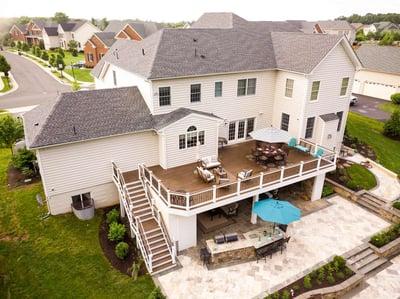 Deck, patio, outdoor kitchen aerial photo Haymarket, VA
