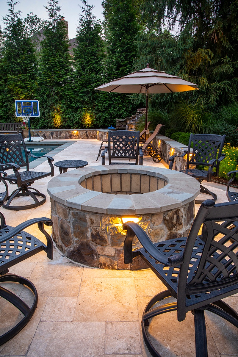 pool patio and fire pit design in VA
