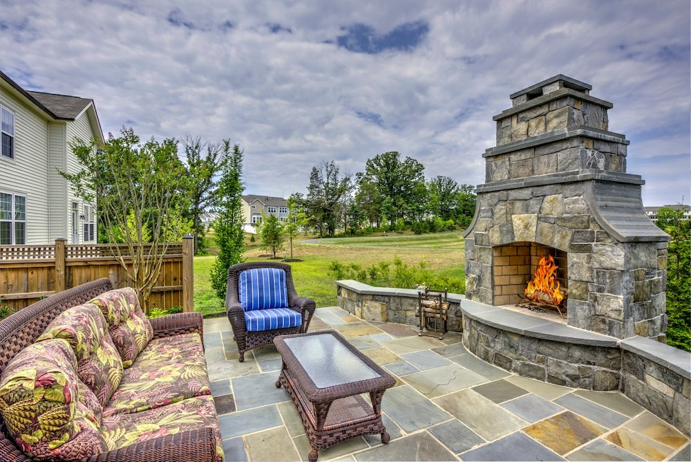 hardscape outdoor fireplace and patio