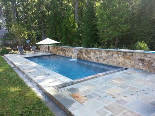 natural stone pool patio built by Rock Water Farm
