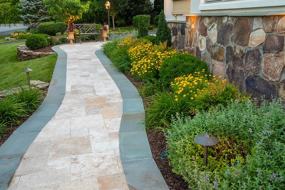 front walkway designed with plants and lighting