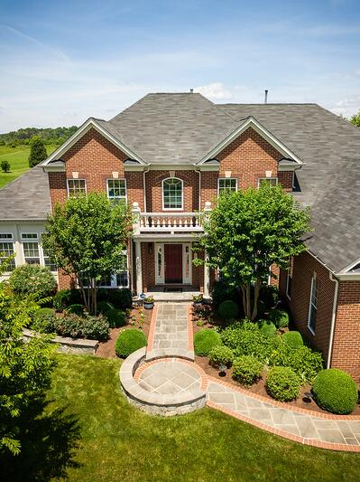 Leesburg, VA house with front walkway and professional landscaping