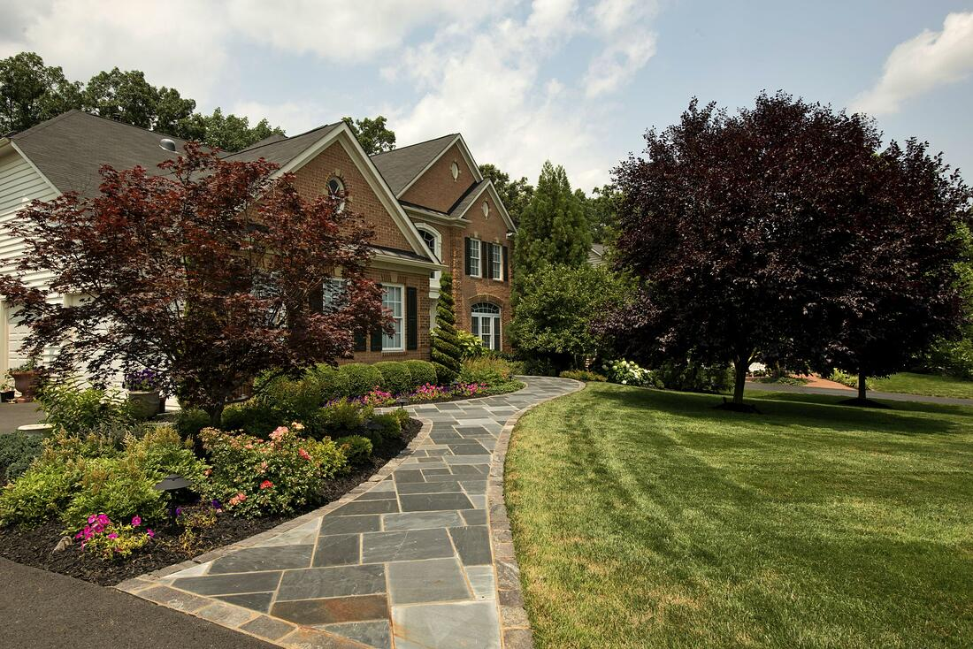 stone walkway and beautiful landscape in Aldie, VA