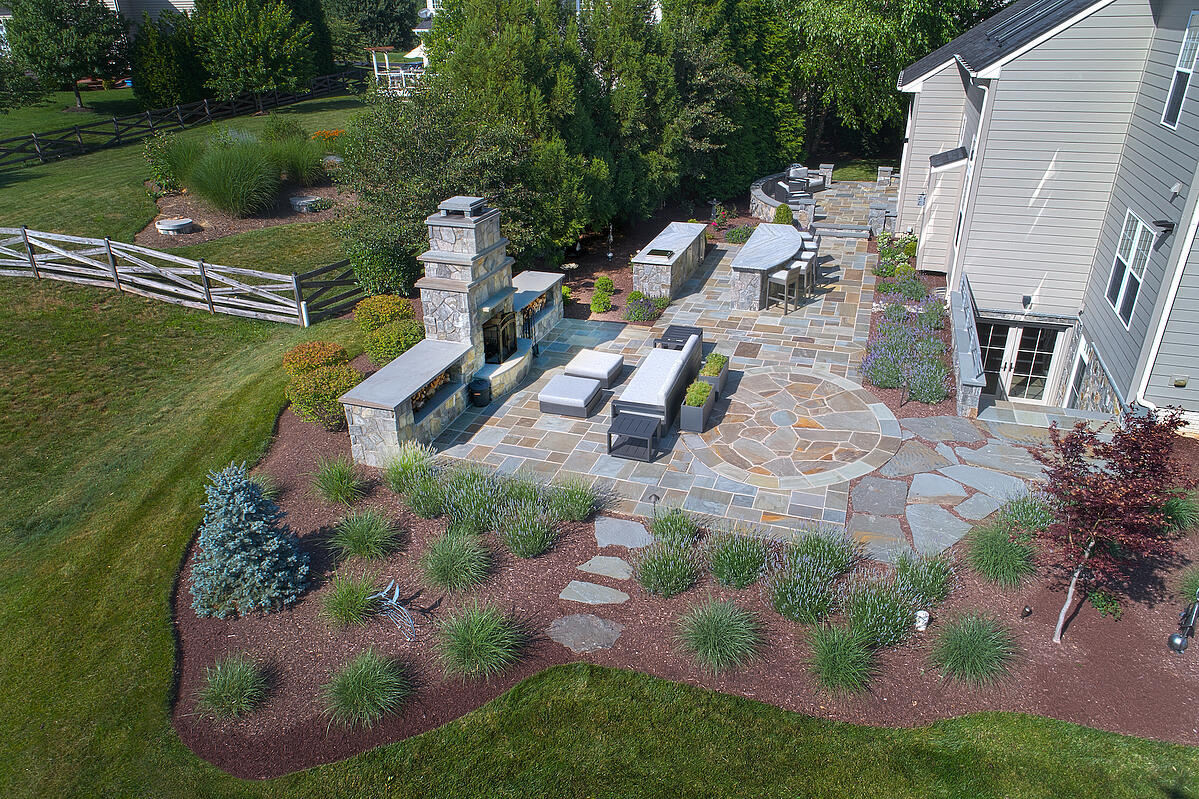 aerial view of outdoor fireplace location