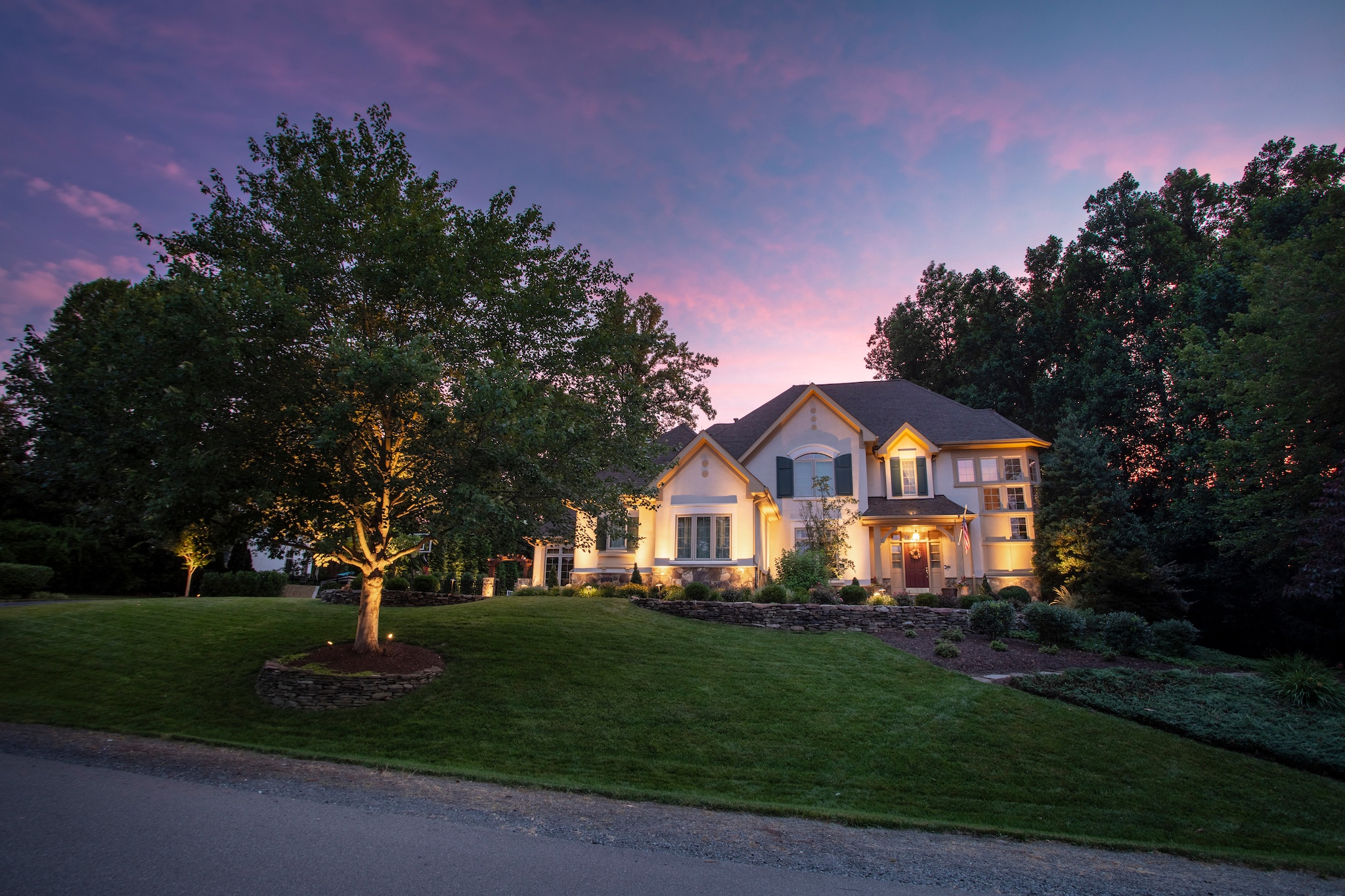 front yard landscape lighting at home in Virginia