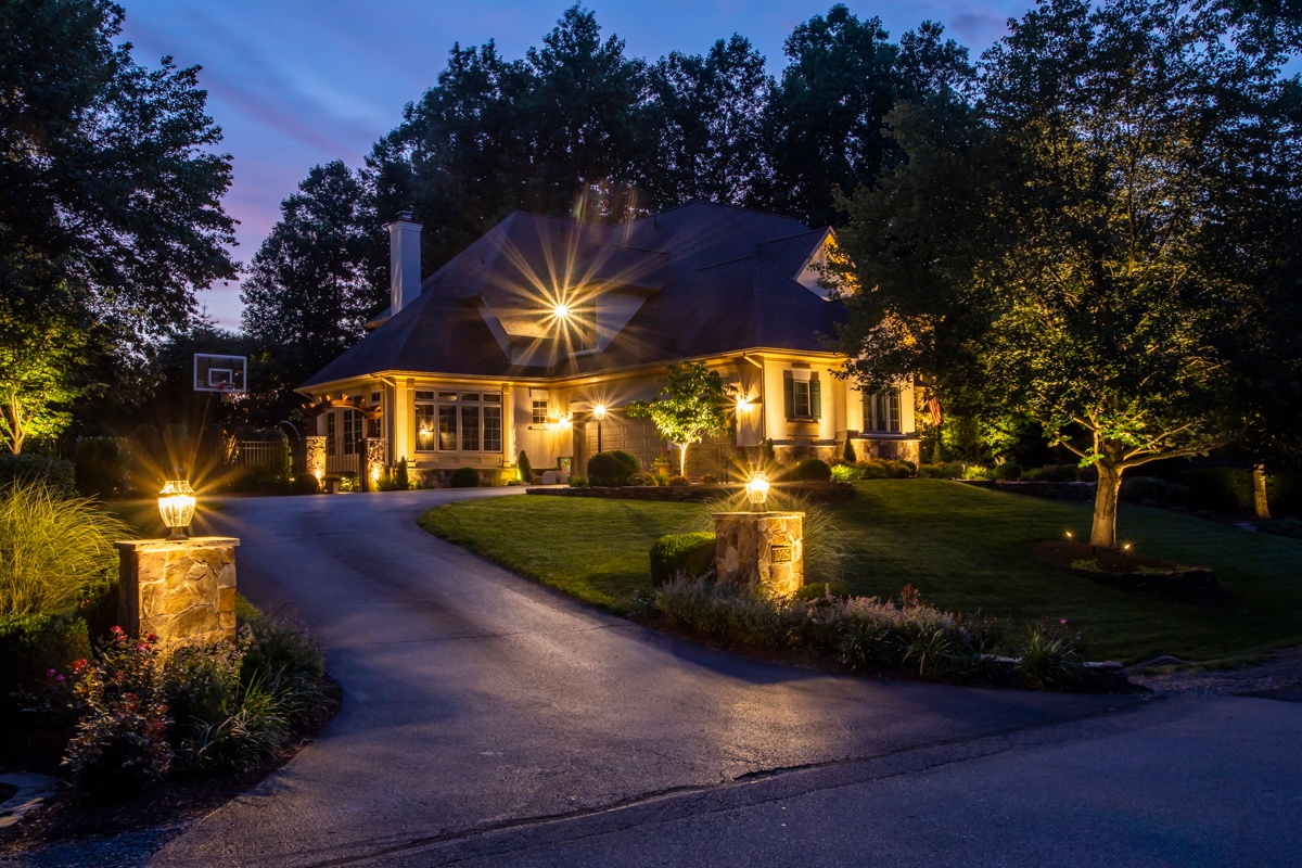 House with remote landscape lighting