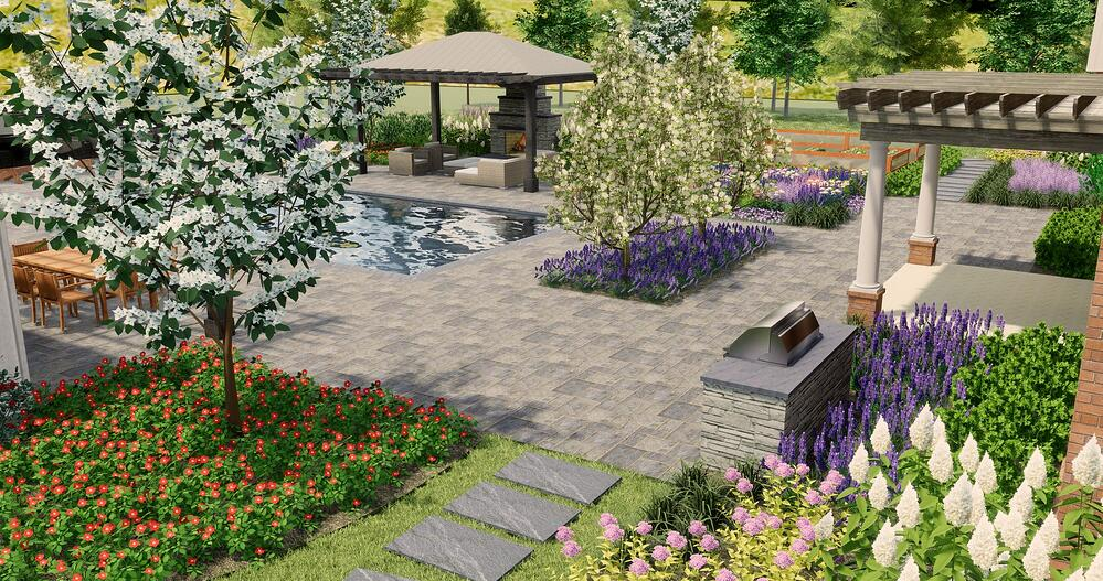 3D landscape design patio, plantings, pool, and outdoor fireplace