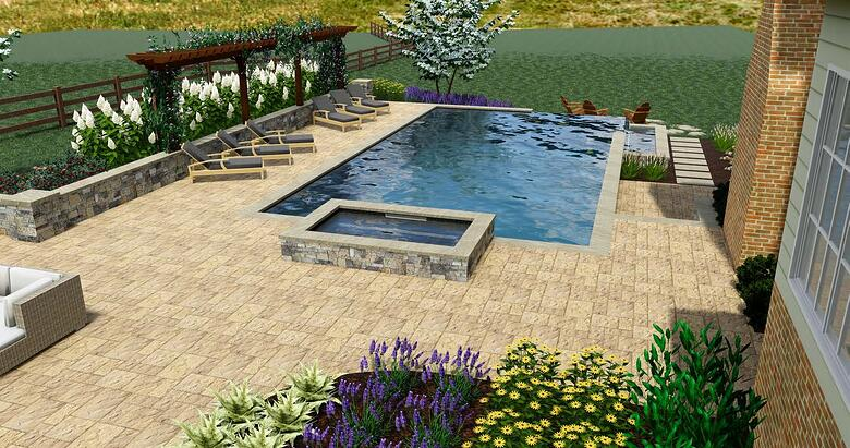 3D pool design rendering
