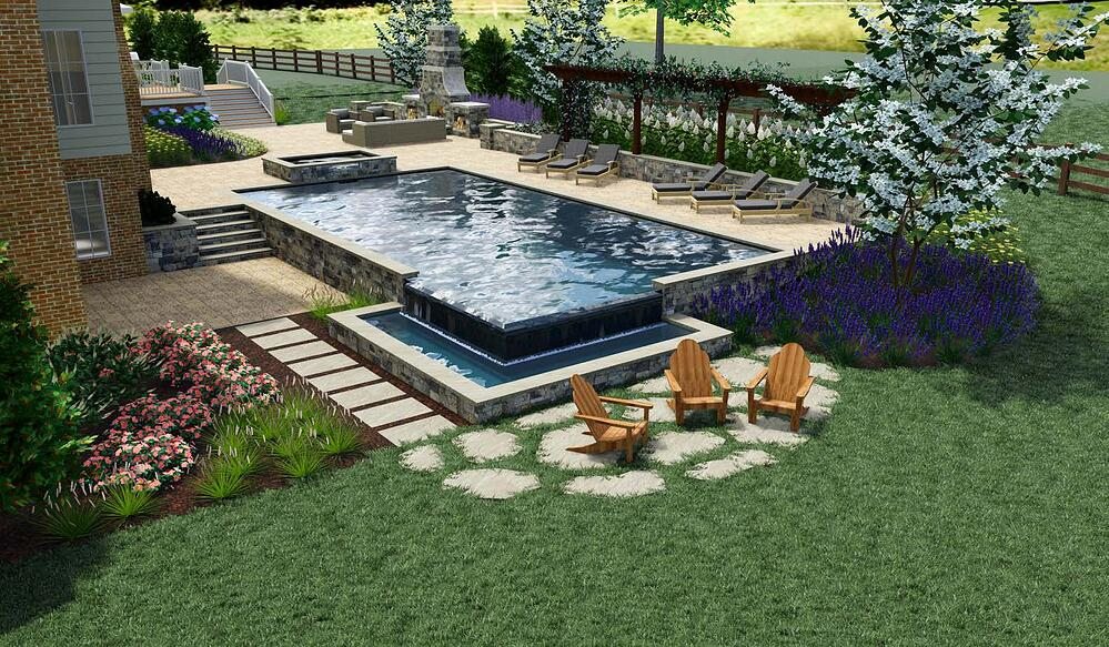 3D landscape design rendering of pool, outdoor fireplace, walkway, patio, and lawn