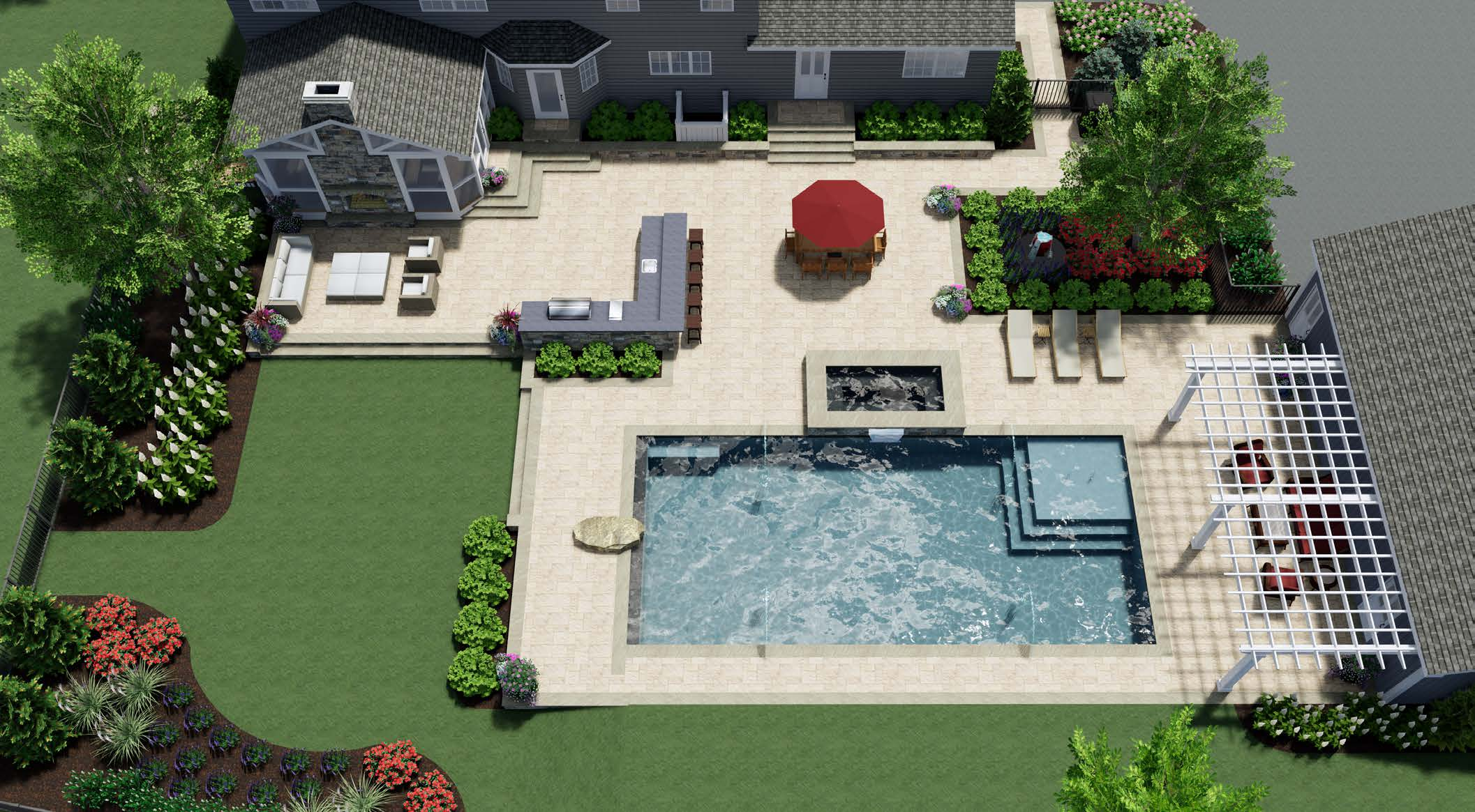 3D pool and landscape design rendering by Rock Water Farm