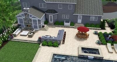 3D landscape design rendering of backyard outdoor living space