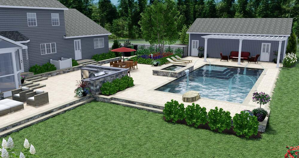 landscape design 3D rendering of lawn, outdoor kitchen, patio, and pool