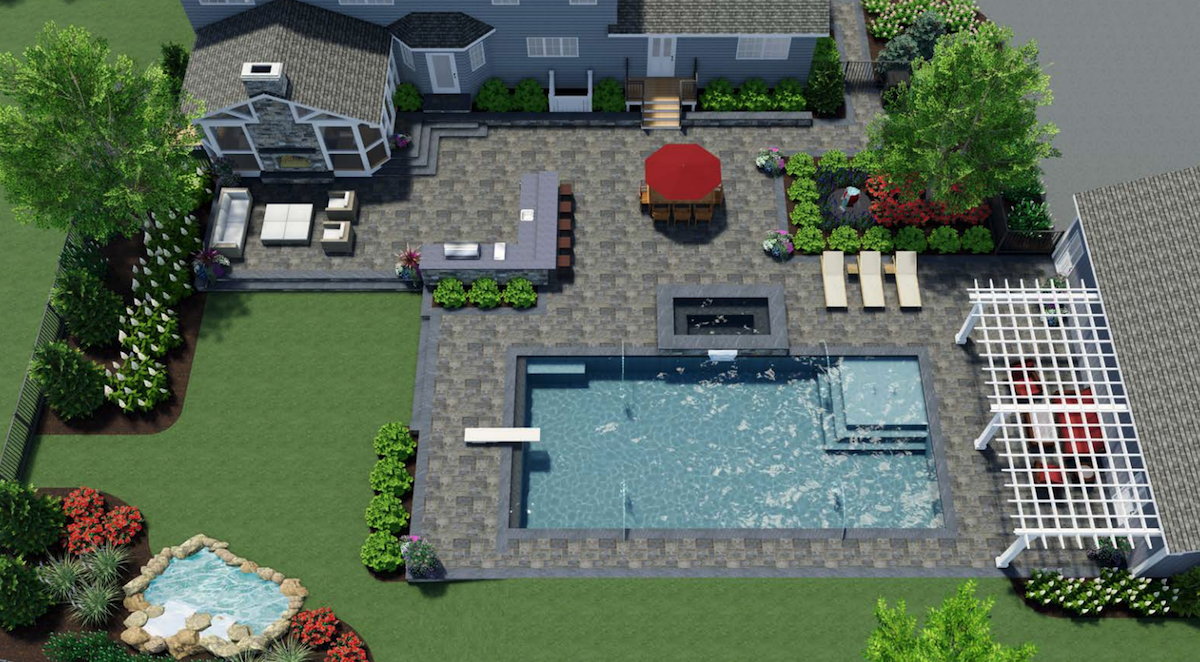 3D landscape design image with outdoor kitchen and pool