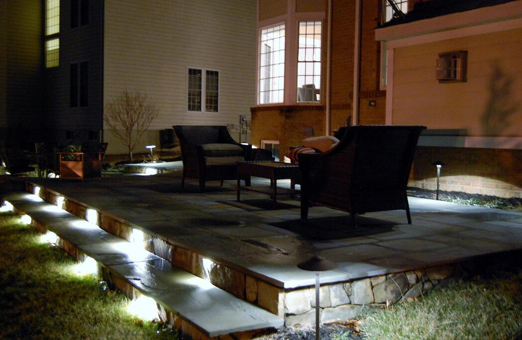 Stairs with landscape lighting for safety