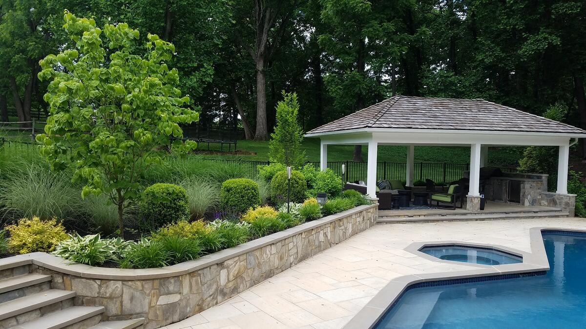 landscape and pool designed by Rock Water Farm in Great Falls, VA