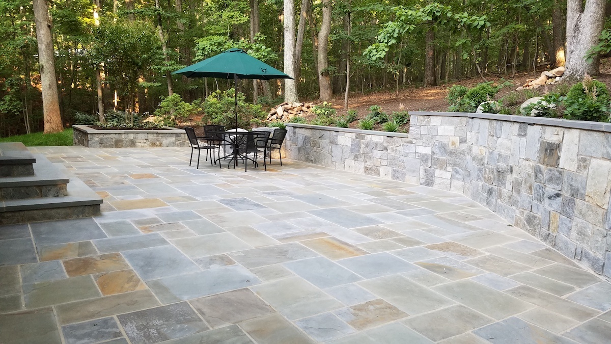 patio and retaining wall designed and built by Rock Water Farm