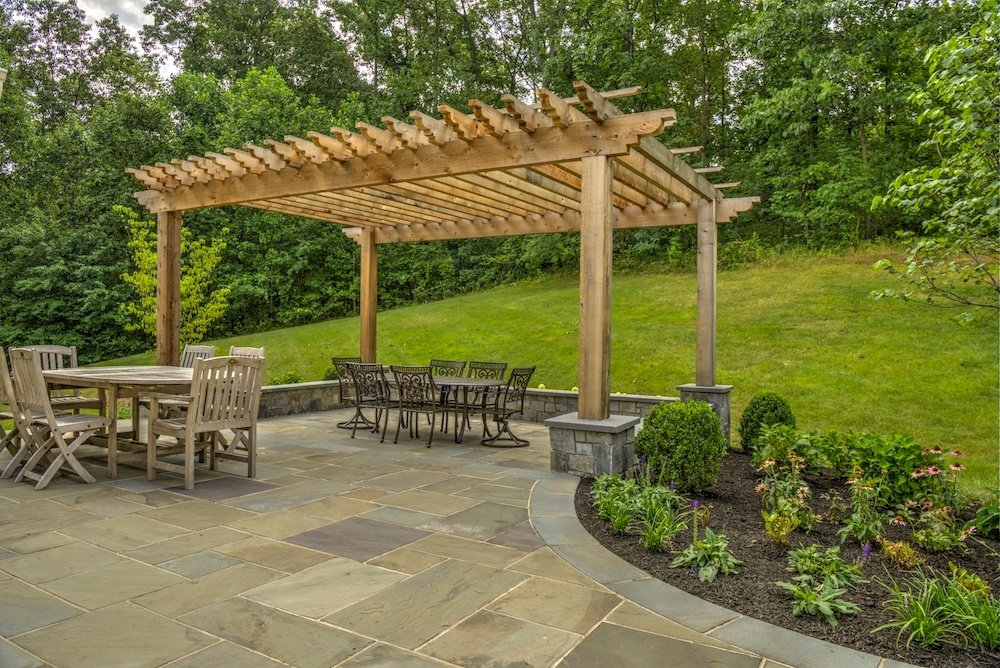 pergola, patio, and plantings