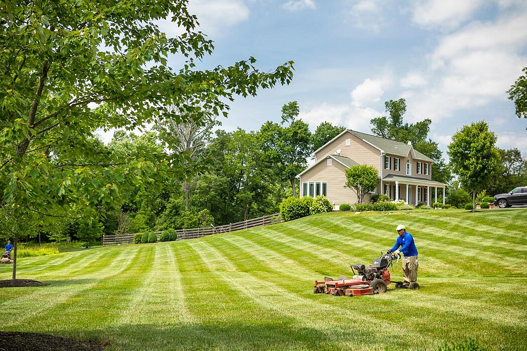 lawn care technician mowing lawn in Northern Virginia