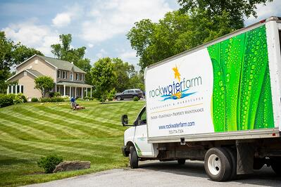 Rock Water Farm truck and nice lawn
