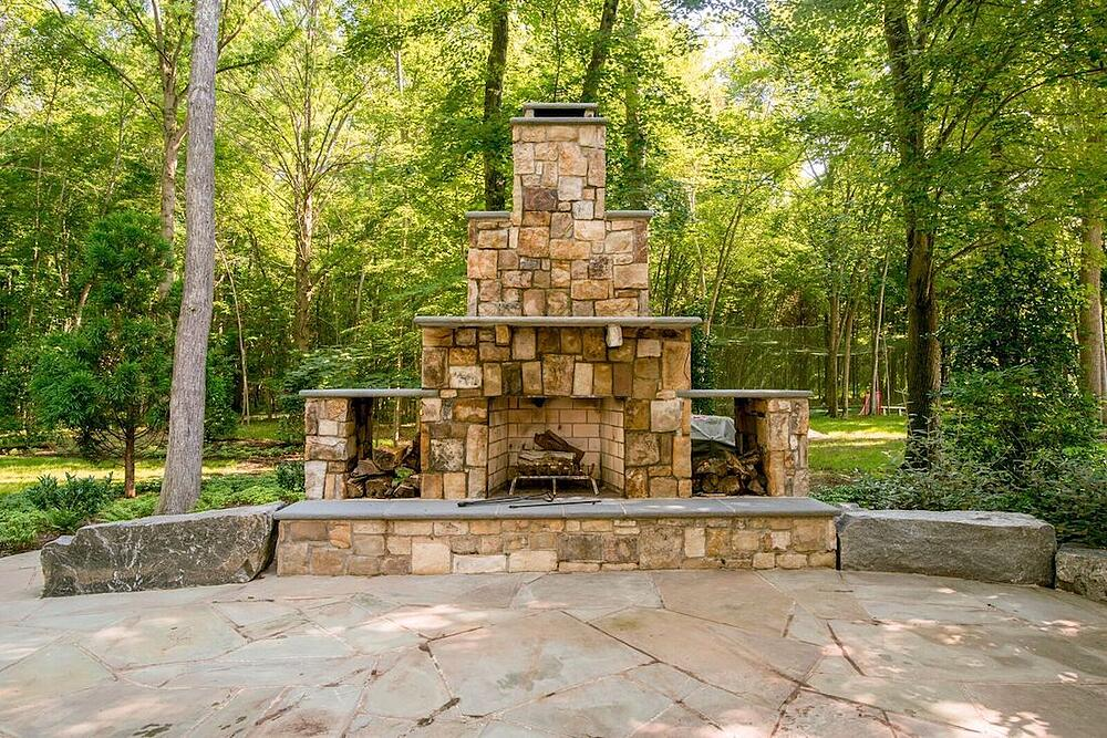 outdoor fireplace idea to build in wood storage