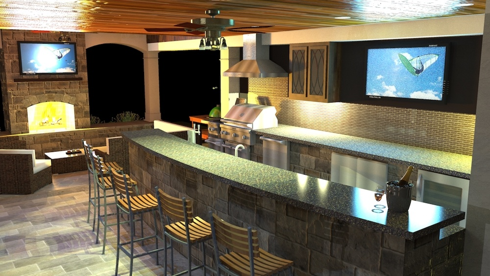 Covered outdoor kitchen with bar and tv