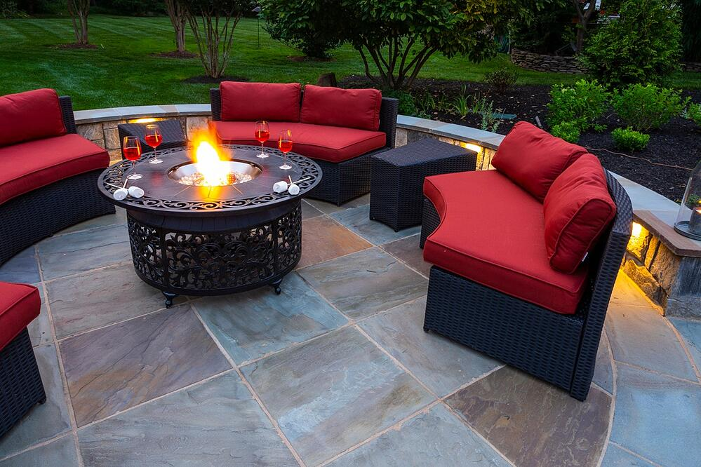 patio designed with movable fire feature