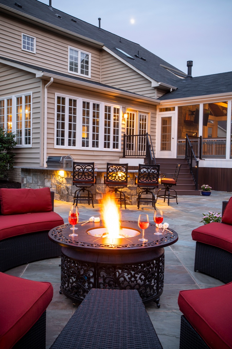 patio fire pit lighting outdoor kitchen