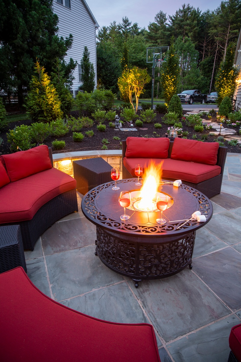 patio fire pit lighting planting