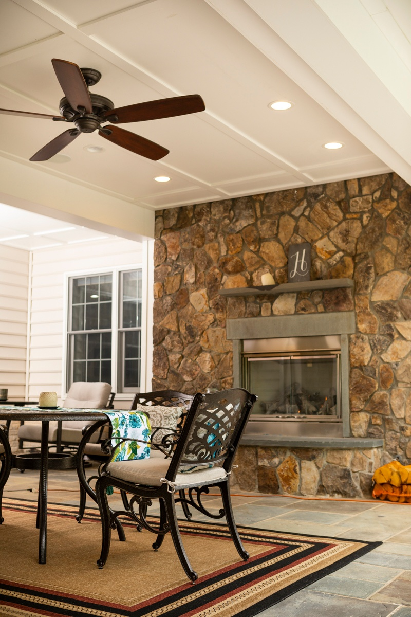 patio outdoor fireplace paddle fan under deck 1