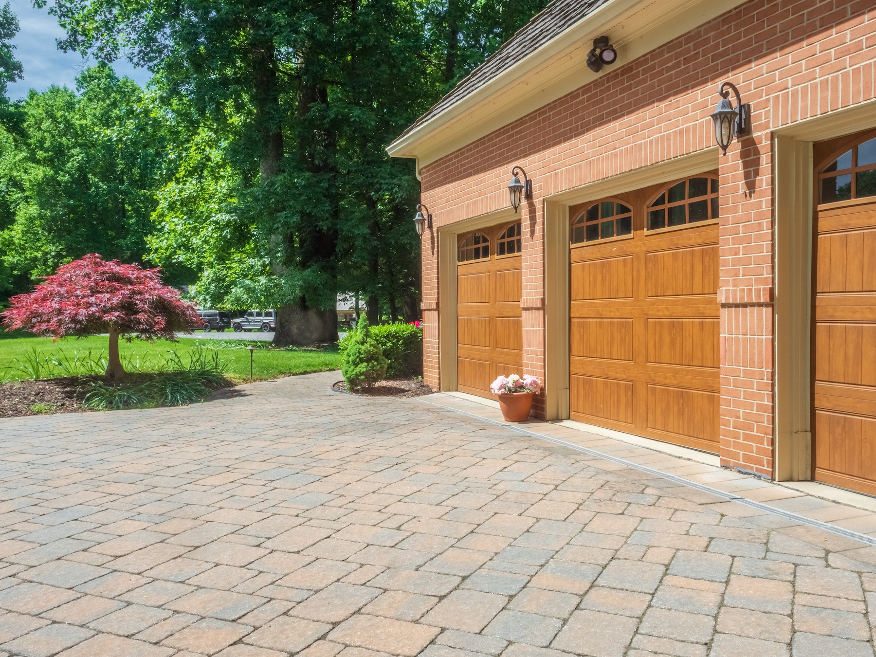 Paver driveway and garage