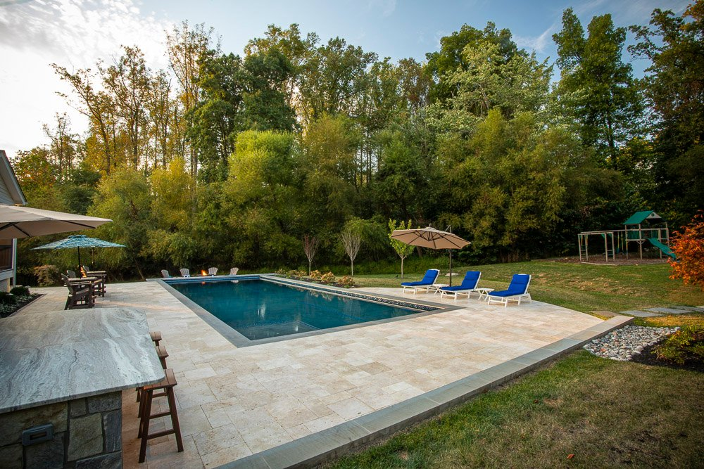 pool patio with natural stone