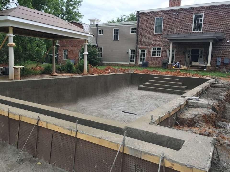 Backyard pool construction
