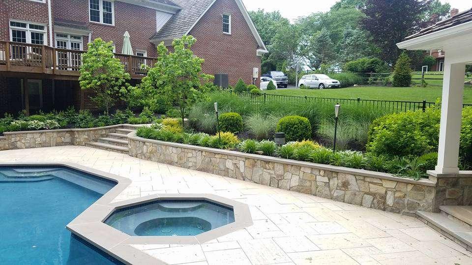 Plantings around pool