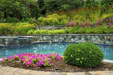 Gunite pool and pool landscaping by Rock Water Farm in Virginia