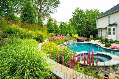 Pool and hot tub with poolside plantings